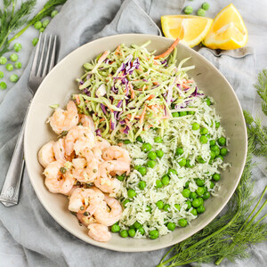 Shrimp Sauté with Capers, Green Pea-Rice Pilaf & Creamy Broccoli Slaw