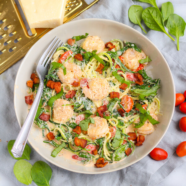 Creamy Tuscan Shrimp with Bacon, Tomatoes, Spinach & Zucchini Noodles