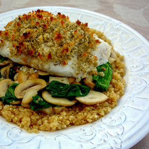 Breadcrumb-Crusted Halibut with Mushroom-Spinach Sauté & Quinoa