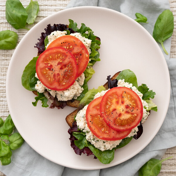 Open-Faced Pesto Tofu Salad Sandwich with Tomato & Mixed Greens