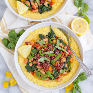 White Bean, Spinach & Tomato Sauté over Polenta with Olive Tapenade