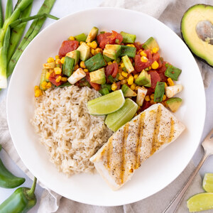 Grilled Halibut with Cumin Rice & Green Onion-Avocado Salsa