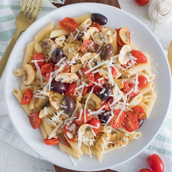 Tomato, Mushroom & Kalamata Olive Penne with Parmesan