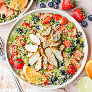 Citrus Marinated Chicken over Quinoa Salad with Berries & Oranges