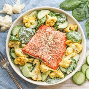 Sesame Salmon over Warm Spinach, Curried Cauliflower & Cucumber Salad