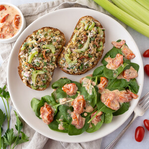 Lentil & Goat Cheese Tartines with Warm Tomato-Dressed Spinach Salad