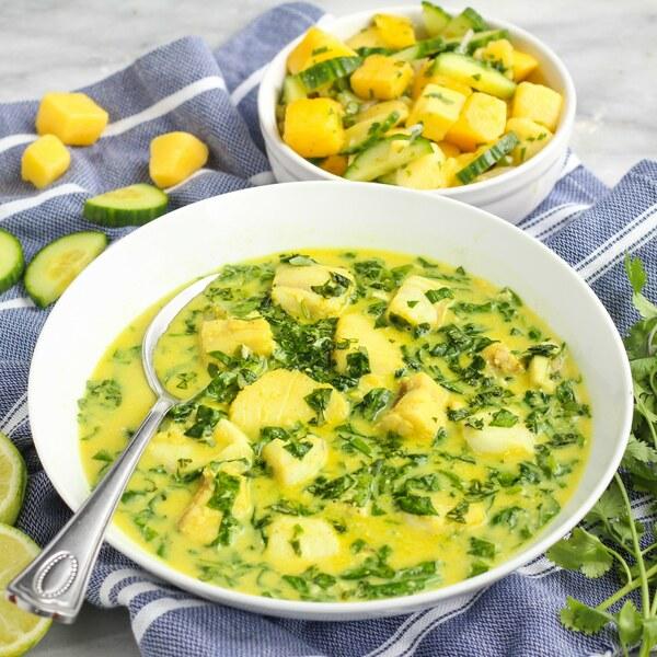Cod, Spinach & Cilantro Coconut Curry with Spicy Mango-Cucumber Salad