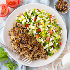Lebanese Lentils, Rice & Fried Onions (Mujadara) with Chopped Salad