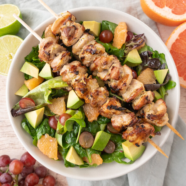Ginger-Lime Chicken Skewers with Grape, Grapefruit & Avocado Salad