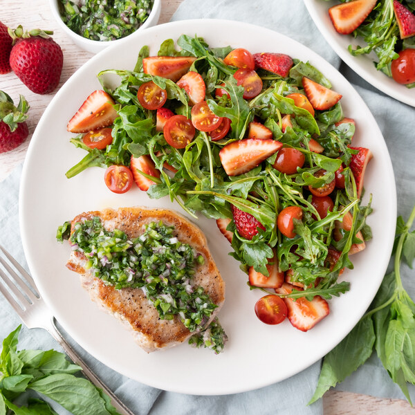 Pork Chop with Jalapeño Basil Salsa & Strawberry-Tomato Arugula Salad