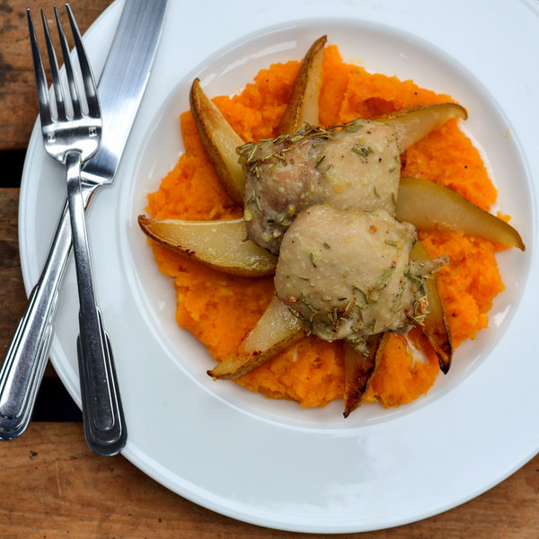 Roasted Garlic Rosemary Chicken & Pears with Butternut Squash Mash