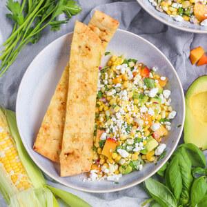Fresh Corn, Peach, Avocado & Goat Cheese Salad with Garlic Breadsticks
