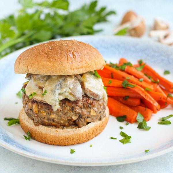 """Beef Stroganoff"" Mushroom Burgers with Honey-Parsley Roasted Carrots"