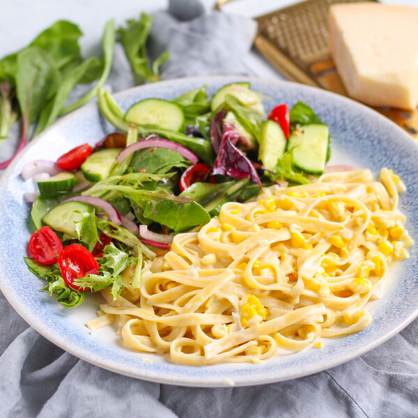 Fresh Creamed Corn Fettuccine with Lettuce, Cucumber & Tomato Salad