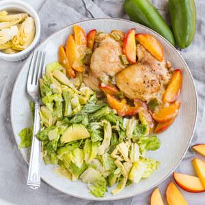Jalapeño-Peach Chicken Thighs with Creamy Avocado & Artichoke Salad