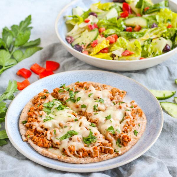 "Turkey ""Meatball"" Pita Pizza with Creamy Oregano & Olive Romaine Salad"
