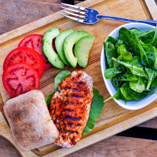 Cajun Chicken & Avocado Burger with Baby Spinach Salad