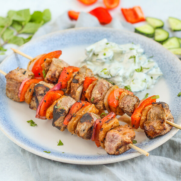 Steak, Bell Pepper & Apricot Skewers with Creamy Cucumber-Mint Salad