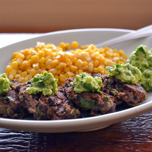 Southwestern Black Bean Cakes with Guacamole & Corn
