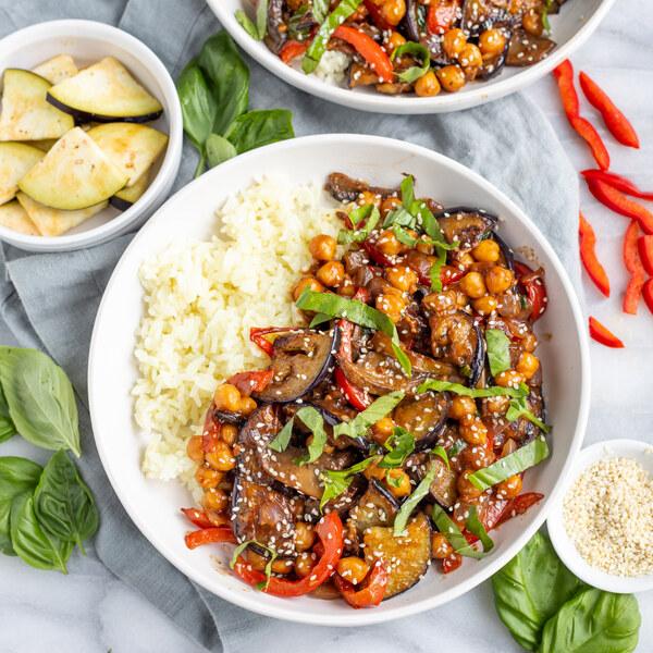 Asian Chickpea, Eggplant, Pepper, Mushroom & Basil Stir-Fry with Rice