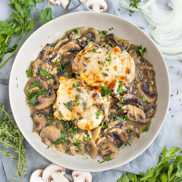 """Cheesy """"French Onion"""" Chicken Thighs with Mushrooms, Thyme & Parsley"""
