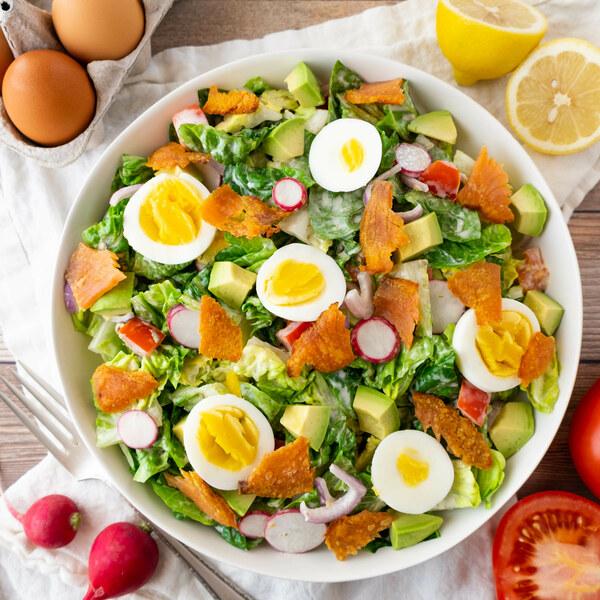 Romaine Salad with Crispy Smoked Salmon, Egg & Lemon-Caper Dressing