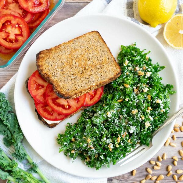 Southern-Style Tomato Sandwich with Parmesan & Pine Nut Kale Salad