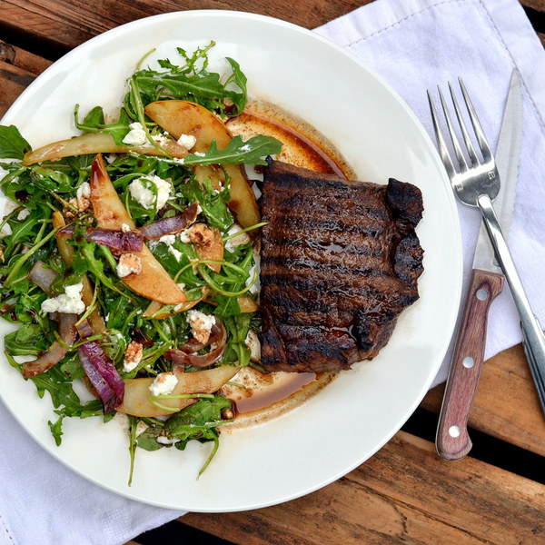 Maple Balsamic Steak with Pear, Arugula & Goat Cheese Salad