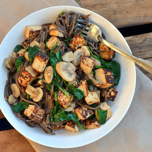 Tofu & Soba Noodle Stir Fry with Spinach & Mushrooms