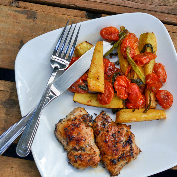 Sautéed Chicken Thighs with Roasted Parsnips & Grape Tomatoes