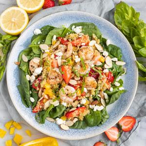 Quinoa-Spinach Salad with Shrimp, Strawberries, Basil, Feta & Almonds