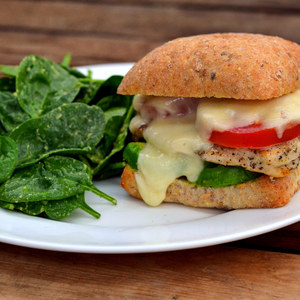 Chicken & Fresh Mozzarella Sandwich with Avocado & Spinach Salad