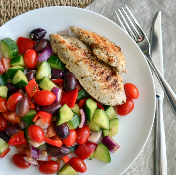 Grilled Chicken Breast with Greek Salad