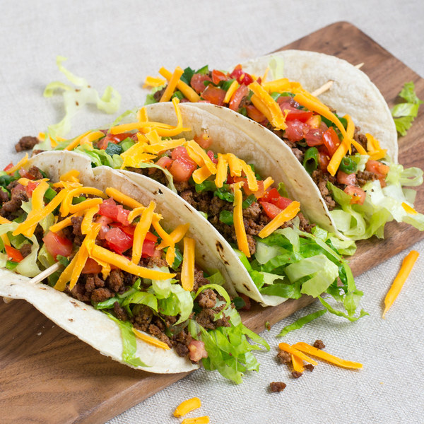 Soft Beef Tacos with Shredded Romaine, Cheddar & Spicy Salsa