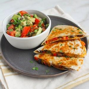 Black Bean & Veggie Quesadillas with Tomato & Avocado Salsa