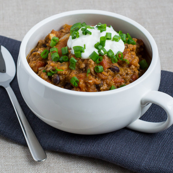 Pumpkin & Beef Chili with Green Onions & Cool Yogurt