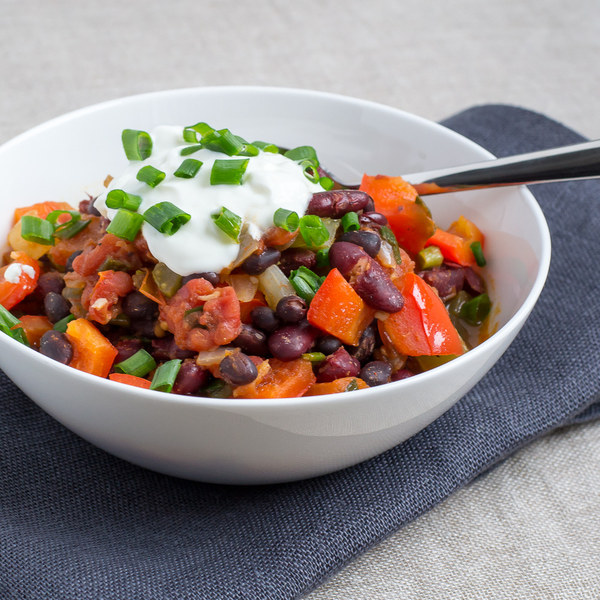 Chunky Vegetable and Bean Chili with Cool Greek Yogurt