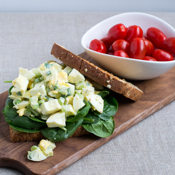 Egg Salad & Spinach Sandwich with Grape Tomatoes