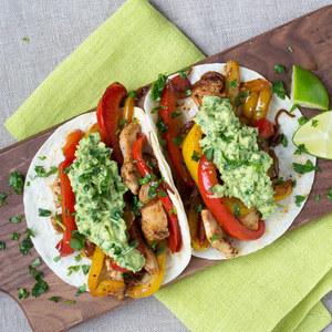 Chicken & Bell Pepper Fajitas with Guacamole