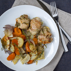 Rosemary Chicken Thighs with Roasted Winter Vegetables