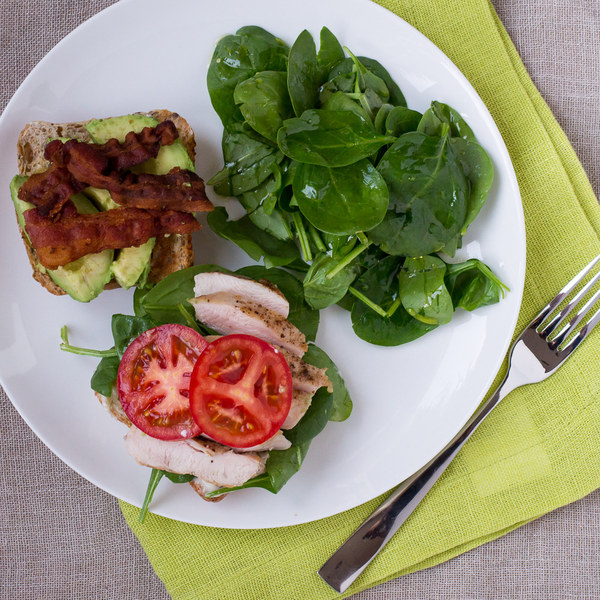 California Club Sandwich with Lemony Spinach Salad