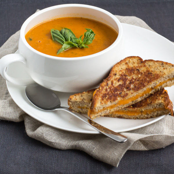 Tomato-Basil Soup with Cheddar Grilled Cheese