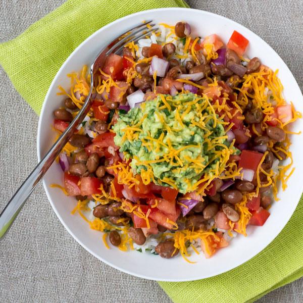 Veggie Burrito Bowl with Salsa, Guacamole & Cheddar