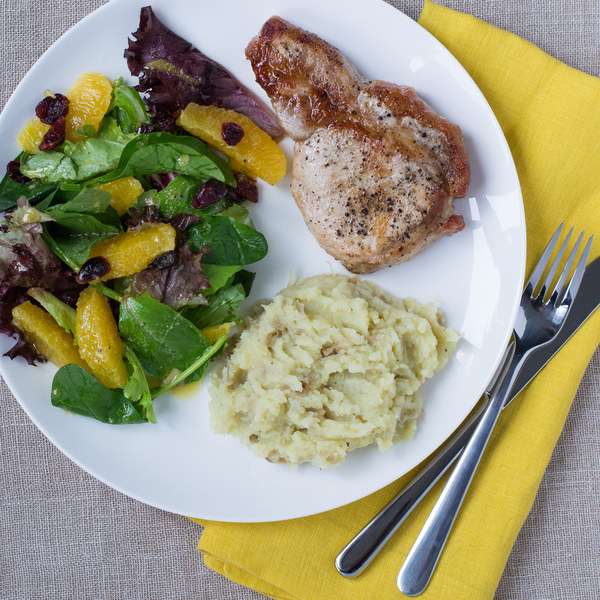 Pork Chops & Sweet Potato Mash with Citrus Baby Greens Salad