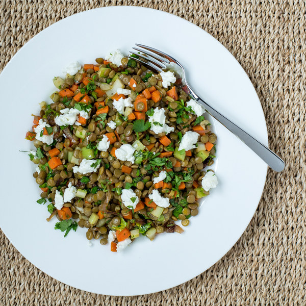 Warm French Lentil Salad with Goat Cheese