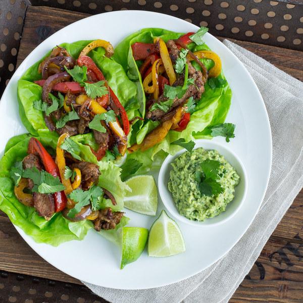 Strip Steak & Bell Pepper Fajitas with Guacamole & Butter Lettuce