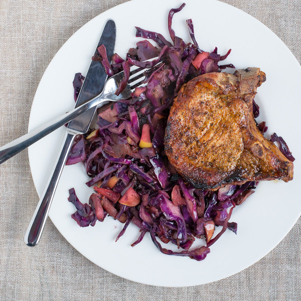 Broiled Pork Chops with Sautéed Red Cabbage