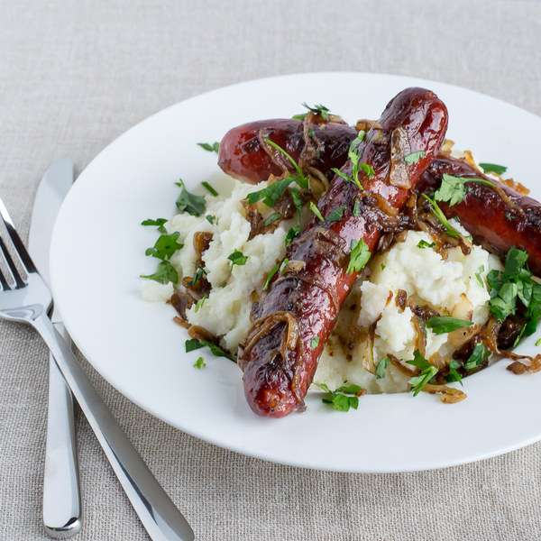 Bangers & Cauliflower Mash with Onion Gravy