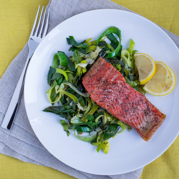 Roasted Salmon with Garlic Buttered Leeks