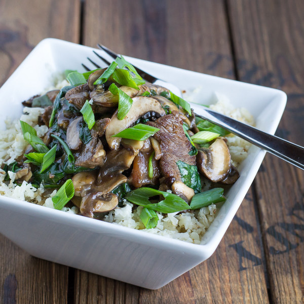 Steak & Mushroom Stir Fry with Cauliflower Rice